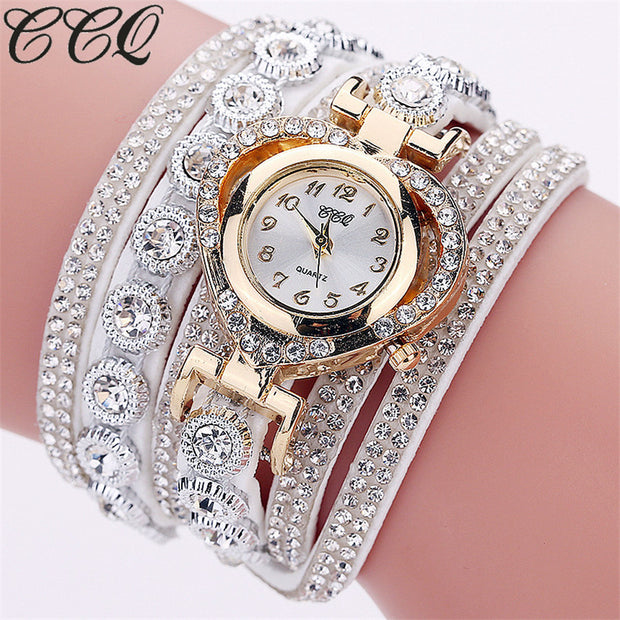 CCQ Brand Fashion Luxury Rhinestone Bracelet Watch Ladies Quartz Watch