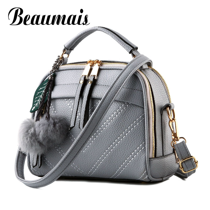 Beaumais Hot Sale Pu Leather Women Leather Handbag Hairball Women