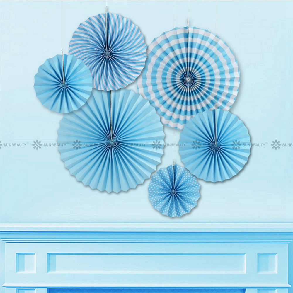 Blue Paper Fan Rosettes Backdrop Paper Pinwheel Garland Party Fans