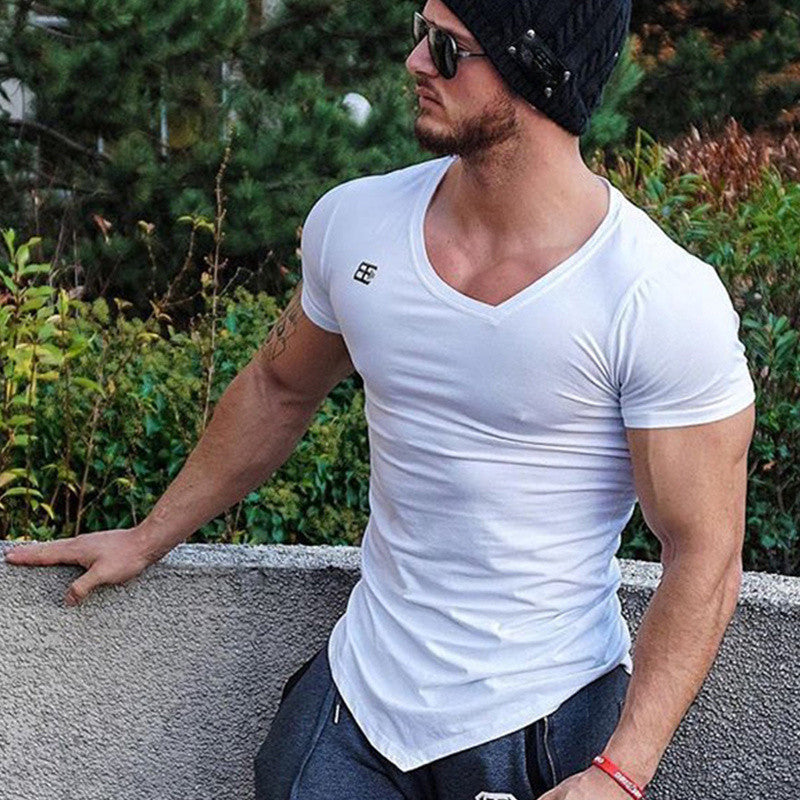 Brand Men summer New T-shirts Fitness Bodybuilding T Shirt Slim fit