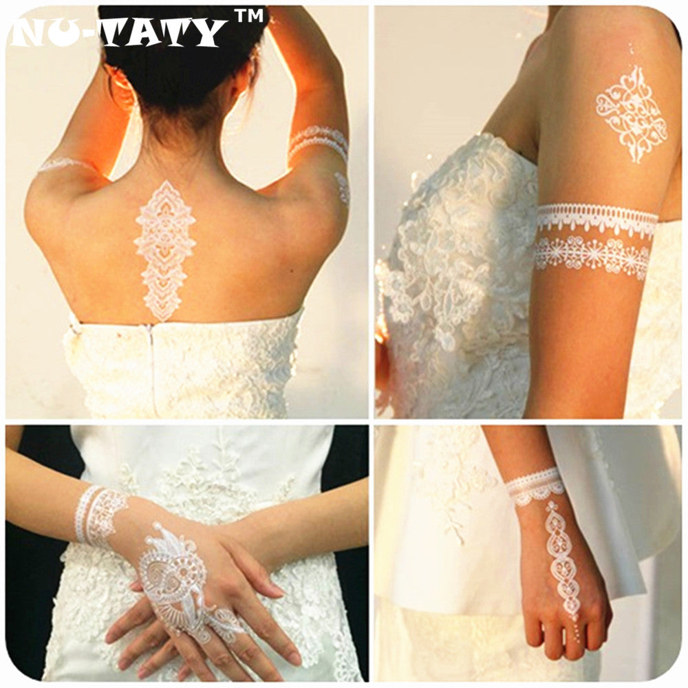 NU-TATY Wedding Bride Styling White Lace Temporary Tattoo Body Art