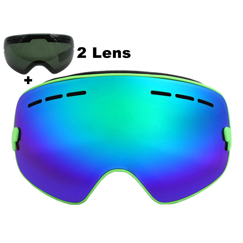 Brand Ski Goggles Double Lens UV400 Anti-fog Large Spherical Skiing