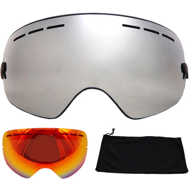 Brand Ski Goggles Double Layers UV400 Anti-fog Big Ski Mask Glasses