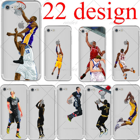 basketball Cartoon LeBron James Kobe Bryant soft silicone phone cases cover for iphone 6 6S 7 plus 5S SE Capinha Coque fundas