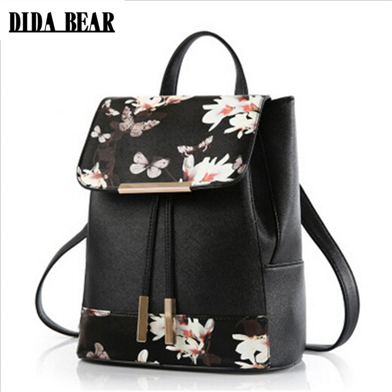 DIDA BEAR Women PU Leather Backpacks Rucksack Schoolbags For Girls