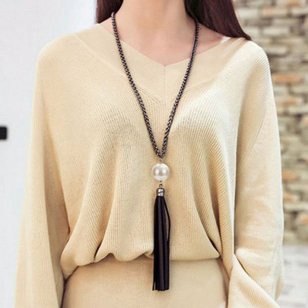 LNRRABC 2016 New Arrival Tassel Pendant Sweater Chain Long Beads