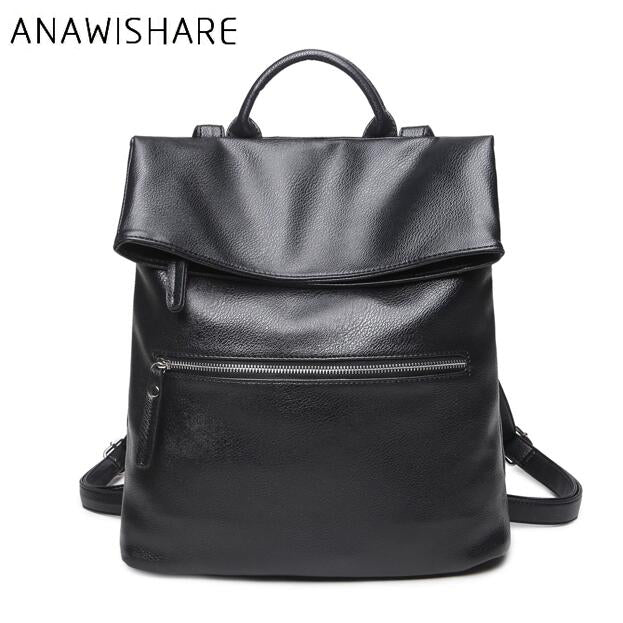 ANAWISHARE Leather Backpacks Women Schoolbags For Teenagers Girls