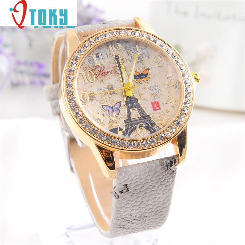 women watches Ladies Relogio Fashion Paris Style Tower Butterfly PU
