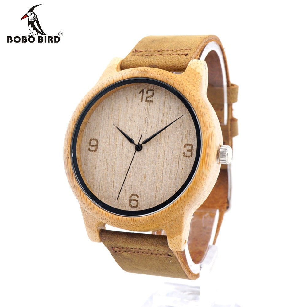 BOBO BIRD L09 Womens Casual Antique Round Bamboo Wooden Watch With