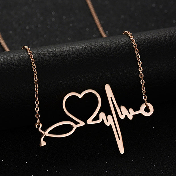 2017 New Medical Stethoscope Love Heart Chain Necklace Gold Bijoux