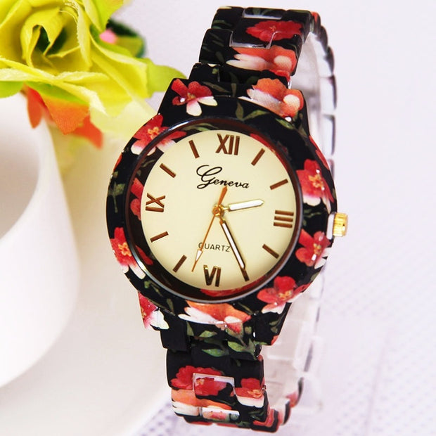 Gnova Platinum Fashion women watch flower print plastic band Geneva