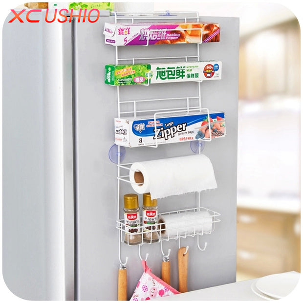 Refrigerator Side Metal Storage Rack Kitchen Condiment Storage