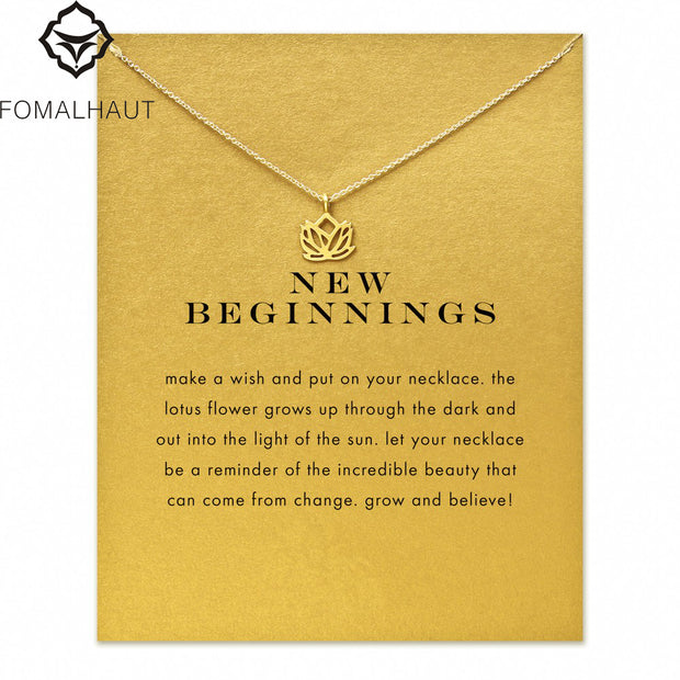 new beginnings lotus Pendant necklace Clavicle Chains Statement