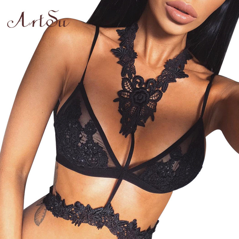 ArtSu Floral Lace Bralette Sexy Bars for Women Lingerie crop top