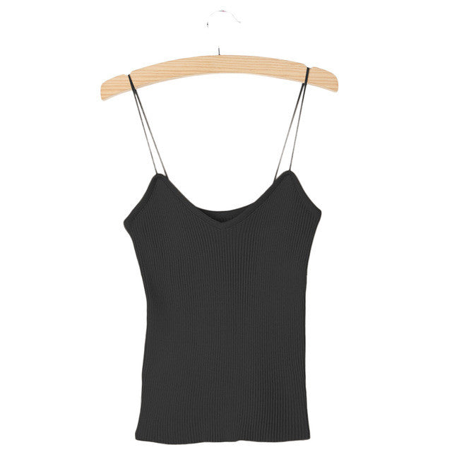 9 Colors Knitted Tank Tops Women Camisole Vest Simple Stretchable