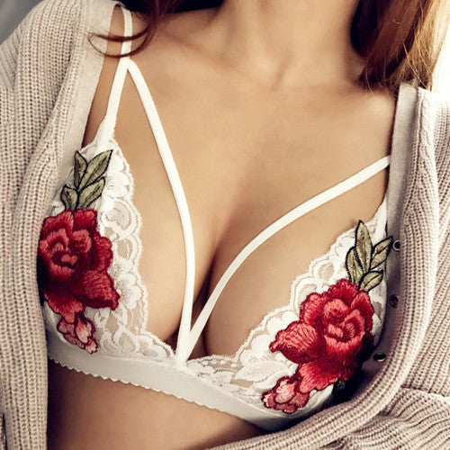 Elegant Fashion Mesh Embroidery Flower Crochet Bralette Crop Top Women