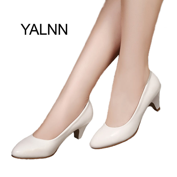 YALNN Elegant New Women shoes  leather 5cm med heel High Quality Shoes