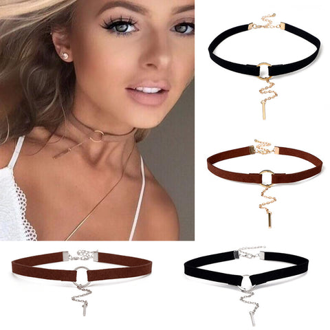 New Punk Statement Geometric Circle Bar Velvet Tassel Chain Chokers Necklaces Women Jewelry Bijoux Mujer Collier ras de cou