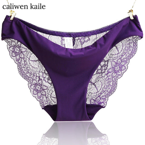 S- XXL 2017 New Women's Sexy Lace Panties Seamless Cotton Breathable Panty Transparent Hollow Briefs Plus Size Girls Underwear