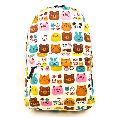 2017 Fashion Harajuku Graffiti Printing Canvas Backpack Large Zipper