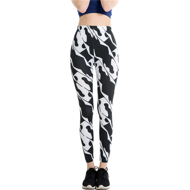 Brand Women Candy Colors Striped Print Leggings Slim Workout High
