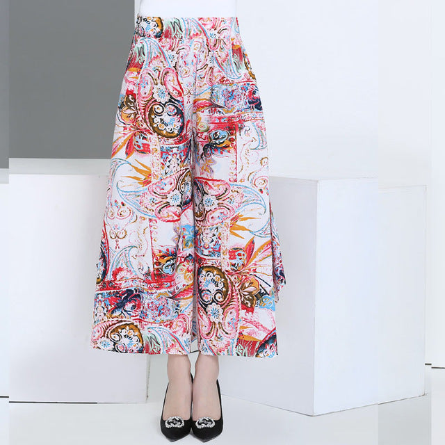 2017 summer runway casual harem flare high waist loose floral Wide leg