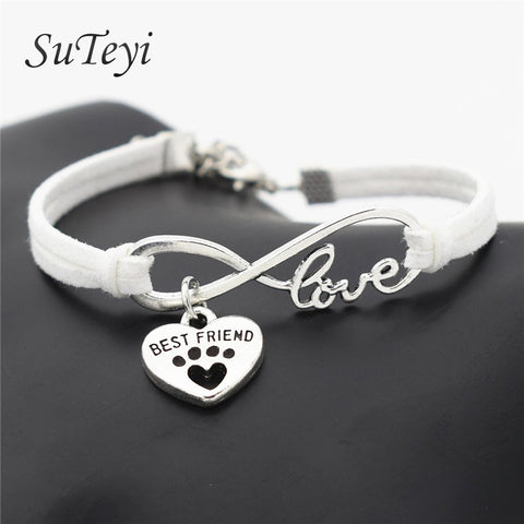 SUTEYI Fashion Women Leather Personalized Antique Silver Pets Dogs Lover Cat Animal Bear Paw Charms Pendant Love Bracelet
