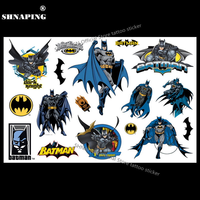 SHNAPIGN Dark Knight Batmen Child Temporary Tattoo Body Art Flash