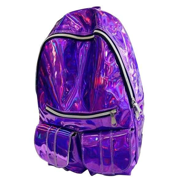 Brand design Women Backpacks Fashion Solid Luminous patent leather