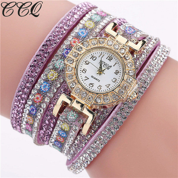 CCQ Brand Fashion Luxury Women Full crystal Bracelet Watch Ladies