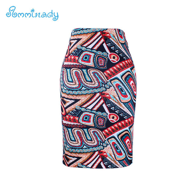 2017 new arrival Women pencil skirts blue flower print bodycon lady