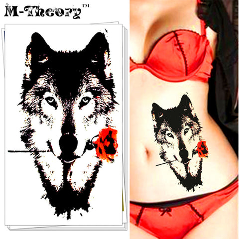 M-Theory Temporary Tattoos Body Arts Makeup Wolf Lovers Flash Tatoos Stickers 12*20cm Henna Tatto Bikini Swimsuit Dress Makeup