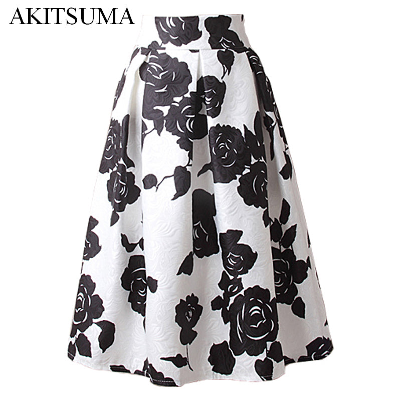 A line midi skirt women pleated high waist skirt vintage floral
