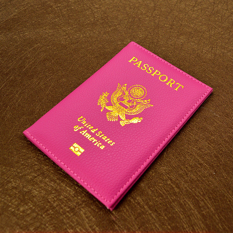 Cute Soft PU leather USA Passport Cover Pink Women Passport Case