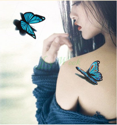 Temporary Tattoo Sticker 3D butterfly tattoo girl small size tatto flash tatoo Fake Tattoo Waterproof  Body Art