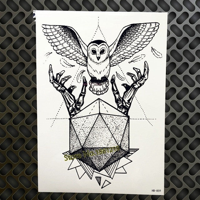 Black Diamond Geometry Owl Temporary Tattoo Sticker WOmen Fake Henna