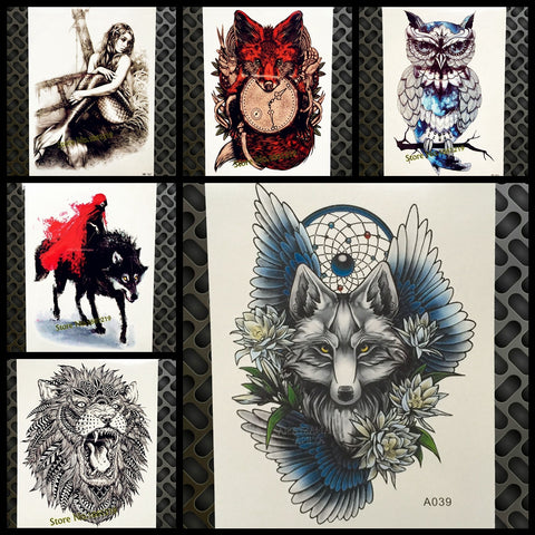 HOT Style Dreamcatcher Wolf Temporary Tattoo Stickers For Women Body ARt Arm Flash Tatoo 21*15CM Flower Wings Waterproof Tattoo