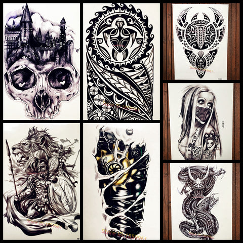 Fashion Black Henna Totem Temporary Tattoo For Men Body Art Large Tattoo Arm Sleeve 21*15CM Turtle Design Fake Flash Tattoo Leg