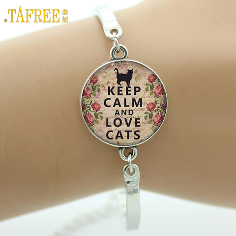 TAFREE Brand Keep Calm and Love Cats Bracelet lovely quote charm Cat lover jewelry glass Cabochon Art picture bangle gifts D09