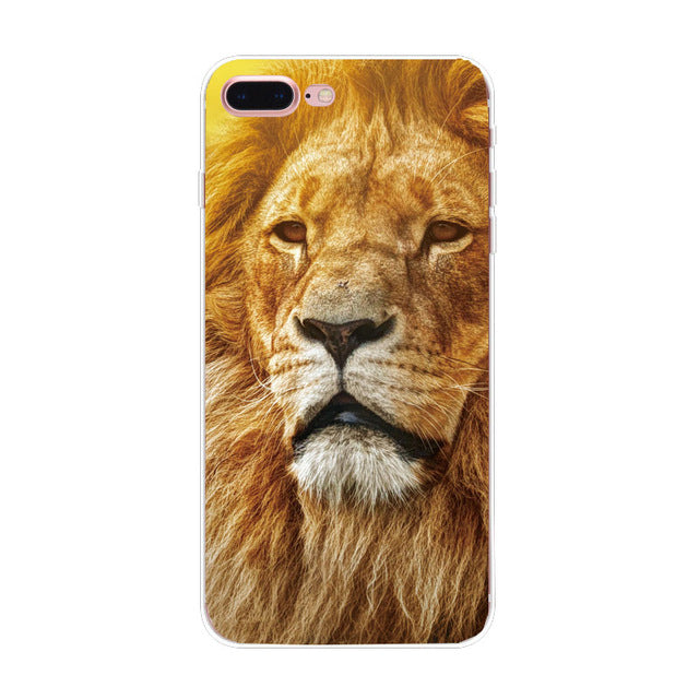 animal Love tiger TPU Soft Silicon Transparent Thin Case Cover For