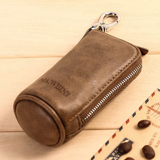 Brand Men Genuine Leather Retro Car Key Housekeeper Holders Lady Cow