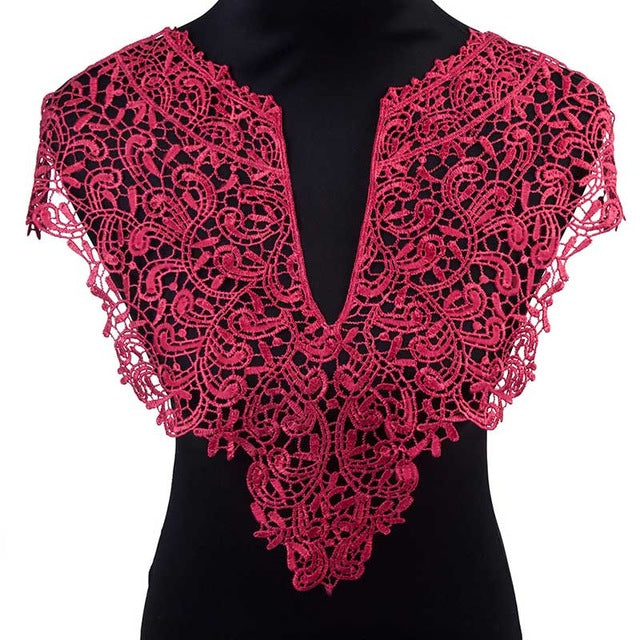 Beautiful 1pc Black & Off White Embroidery Big Flowers Lace Neckline