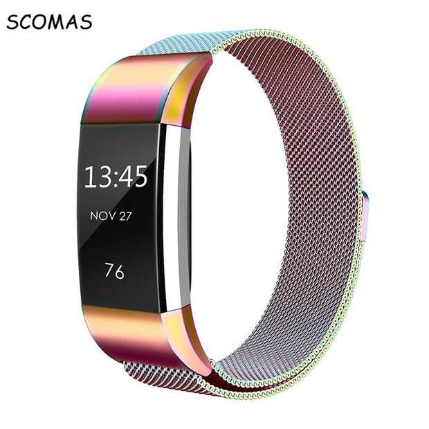 SCOMAS Magnetic Milanese stainless steel strap for Fitbit Charge 2