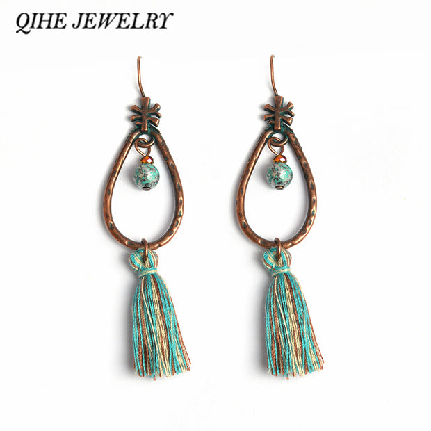 QIHE JEWELRY Teal Tassel Long Blue Dangle Drop Earrings Tibetan Ethnic