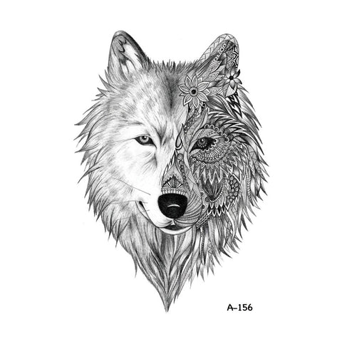 Wyuen Hot Design Temporary Tattoo for Adults Waterproof Tatoo Sticker Body Art Tribal Wolf Head A-069 Fake Tattoo Man Woman