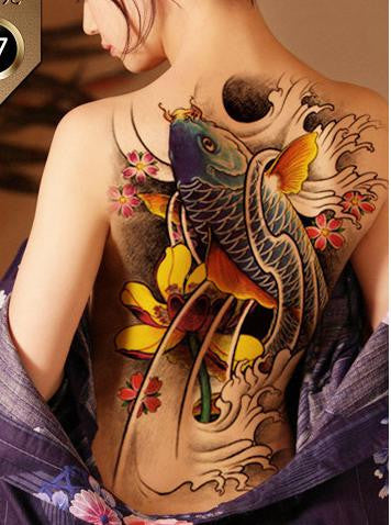 Waterproof Temporary Tattoo Sticker Koi lotus men's whole back