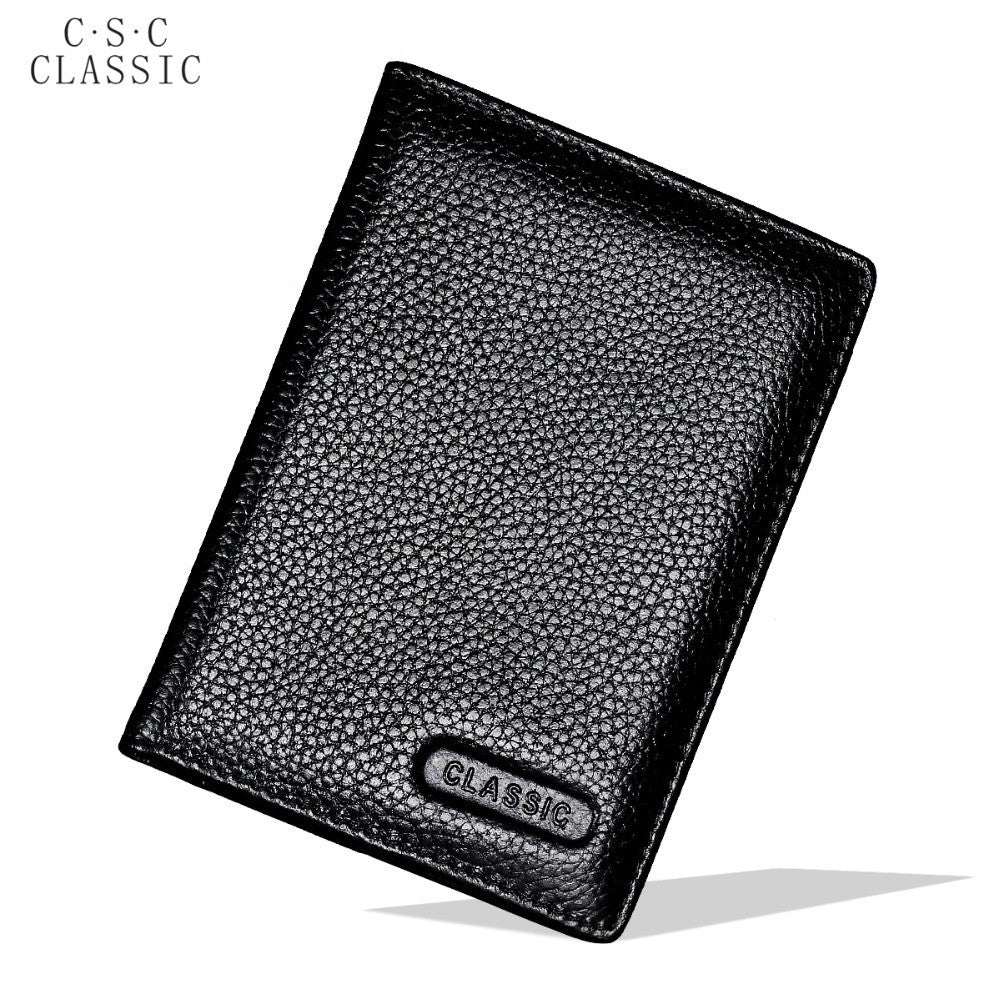 Black Real Cowhide Genuine Leather Passport Cover Holder Porta