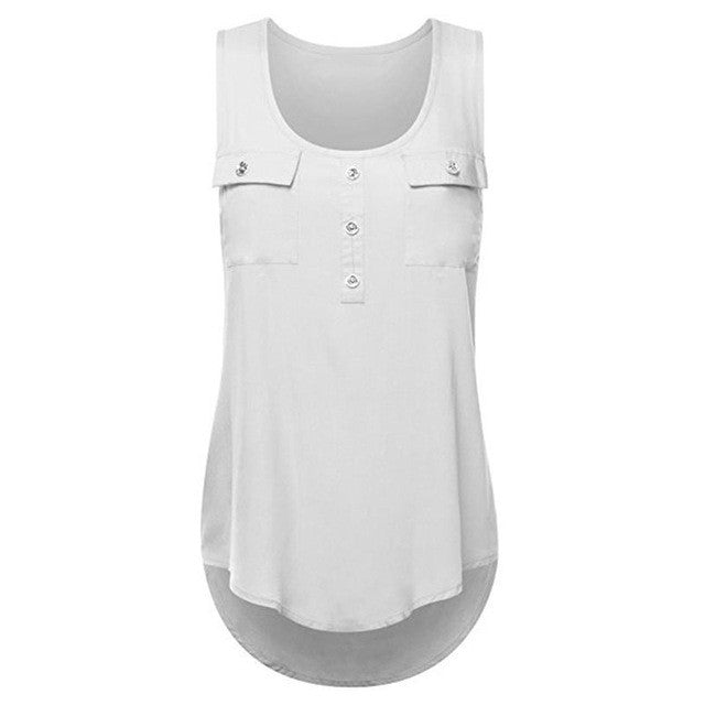 2017 Women'S Fashion Tanks Button Pocket Sleeveless Shirt Ladies