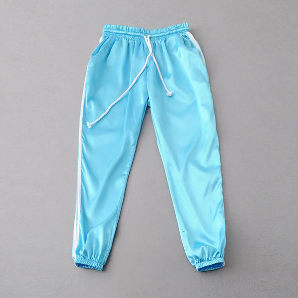 Fashion Women Satin Track Pants Classic Two Stripe Sweatpants Cuffed