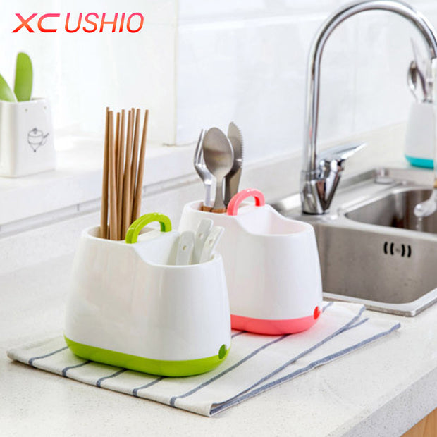 Home Kitchen Tableware Draining Rack Chopsticks Spoon Fork Storage Box